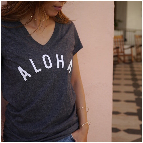 ALOHA Tee (White(Navy)/White(black) /Gray /Navy/Dark Gray)