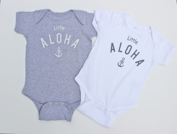 "Baby  ""Little ALOHA"" Romper ( White / Gray / Pink)"
