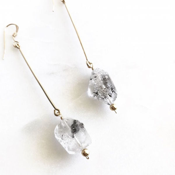 AULII「VICTORIA」14K Gold Filled Herkimer Diamond Earrings