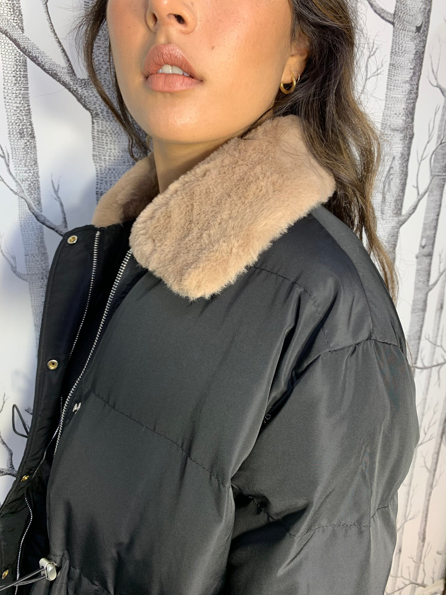 Puffer Jacket with Faux Fur Collar