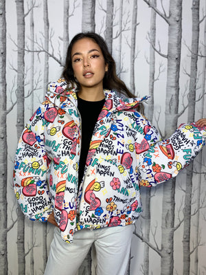 Oversized Puffer Jacket with Bold Graphic Print