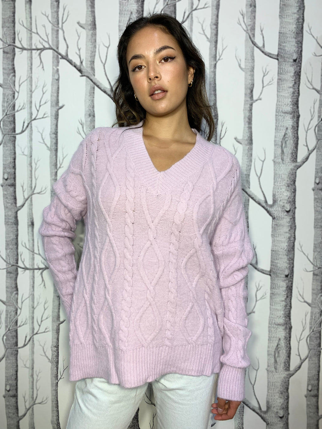 Lilac, V-neck, Cable Knit Jumper