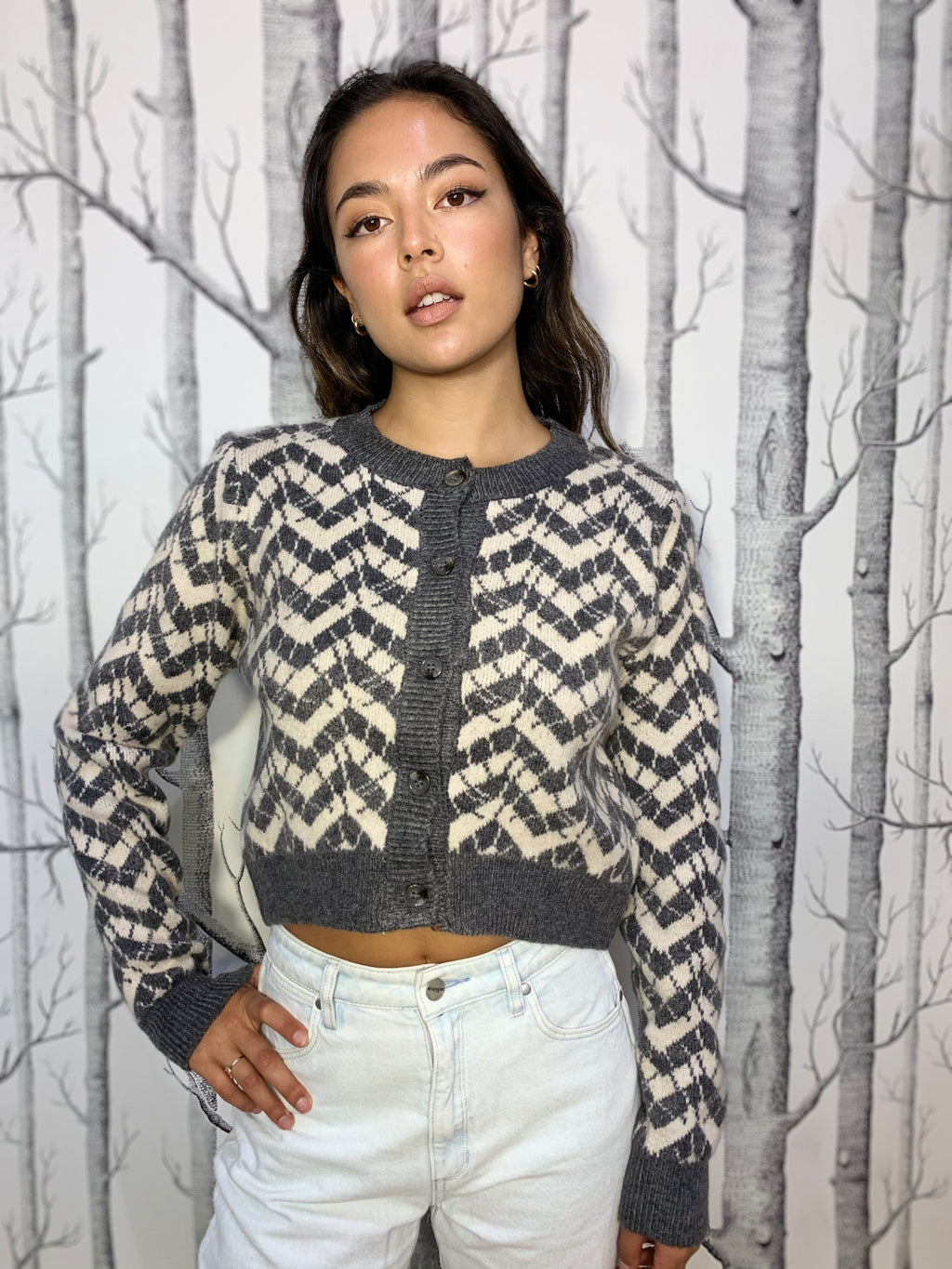 Cute Geometric Cropped Cardigan