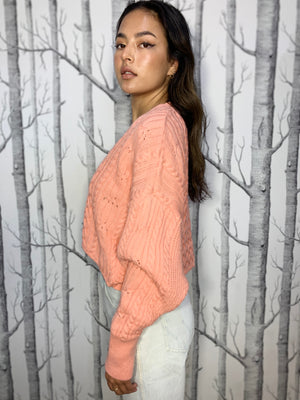 Cropped, Cable Knit, Pastel Pink Cardigan
