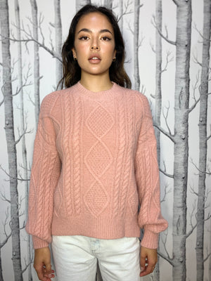 Pastel Pink Crew Neck, Cable Knit Jumper