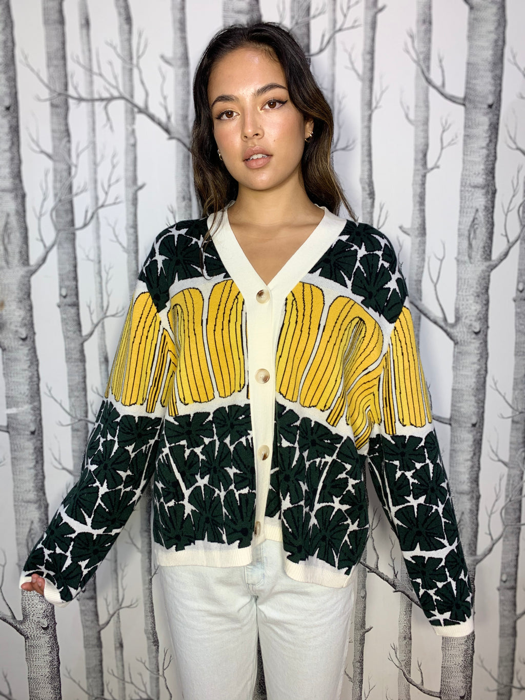 Bold Graphics Oversized Cardigan with Yellow