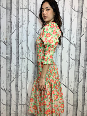 Floral Midi Dress with Puffed Sleeves and Tie Up waist