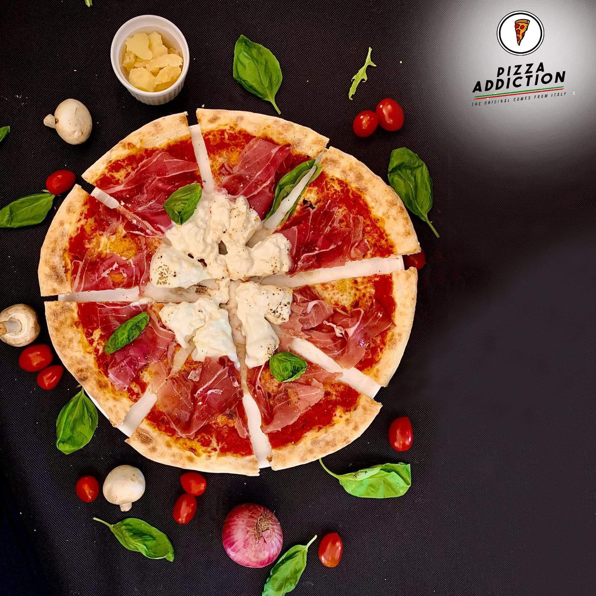 Pizza Addiction Authentic Pizza Delivery Bundle Spicy Salami Pizza / 4 Cheese Pizza and Burrata Cheese Lover Set