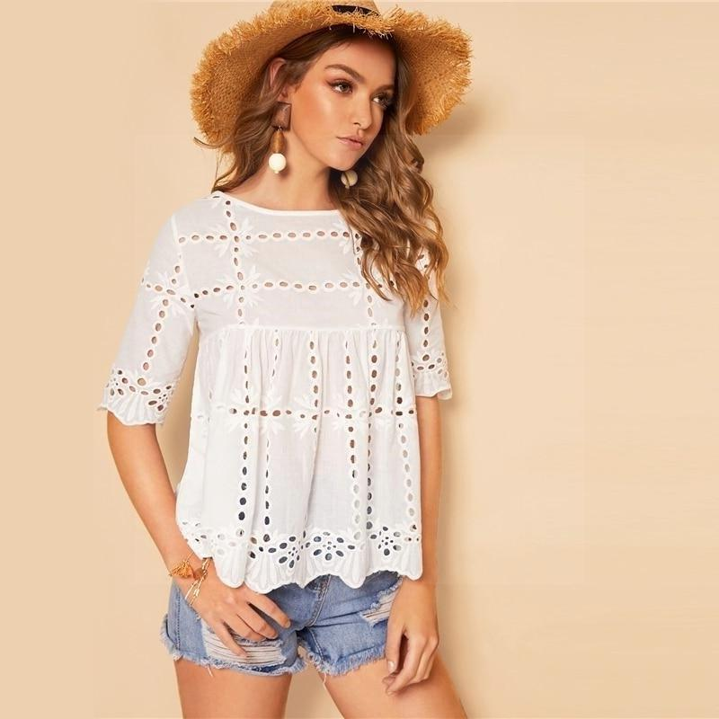 Boho White Woman Blouse women