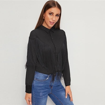 Black Boho Top finely tailored