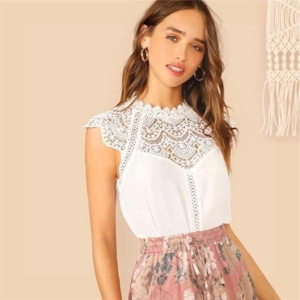 White Boho Chic Top low price