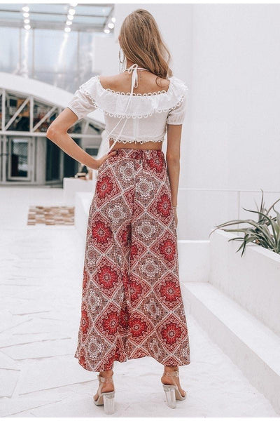 Coral Boho Long Skirt Ladylike