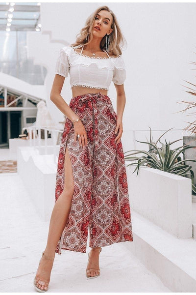 Coral Boho Long Skirt women