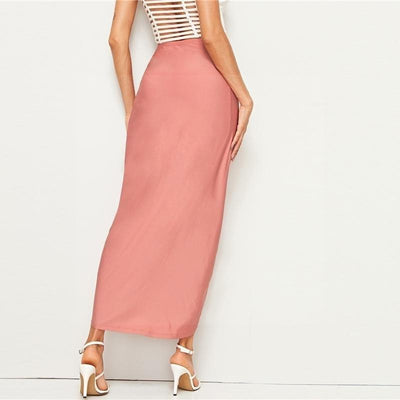 Pale Pink Boho Long Skirt Ladylike