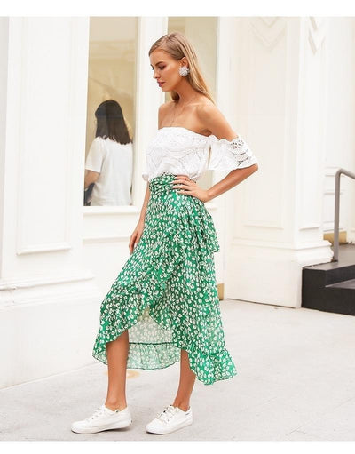 Green Boho Long Skirt bohemian life