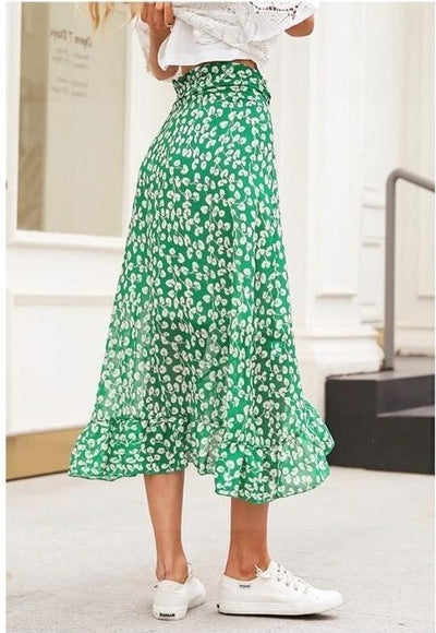 Green Boho Long Skirt Ladylike
