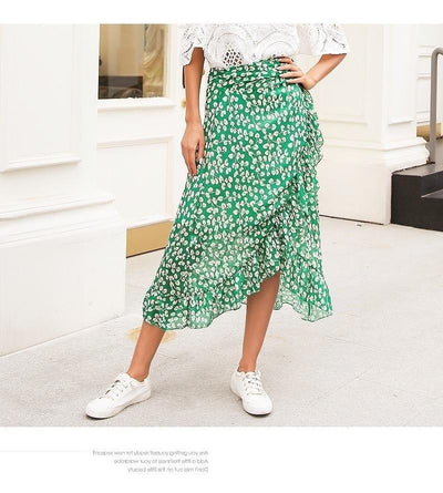 Green Boho Long Skirt style