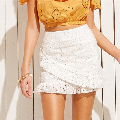 White Boho Chic Skirt finely tailored