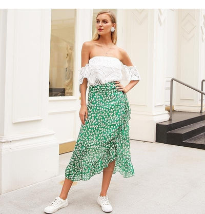 Green Boho Long Skirt low price