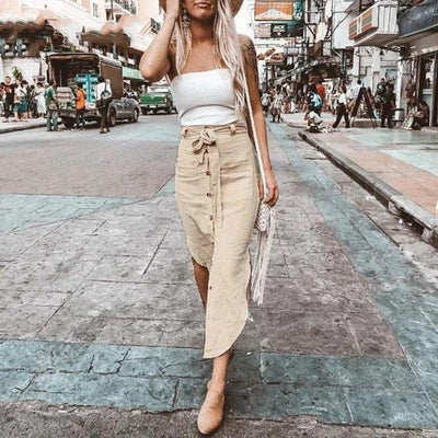 Beige Boho Long Skirt trendy