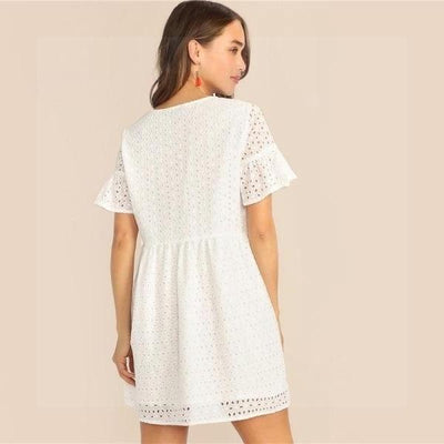 White Boho Chic Short Dress bohemian life