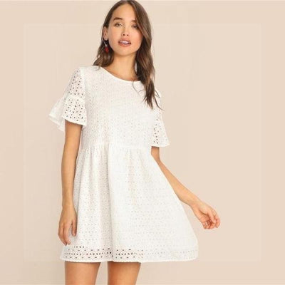 White Boho Chic Short Dress finely tailored