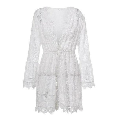 Boho White Dress With Chic Lace chic
