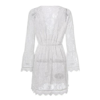 Boho White Dress With Chic Lace