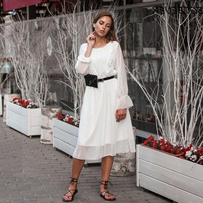 White Lace Boho Style Dress finely tailored