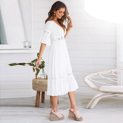 White Dress Hippie Chic Style boho
