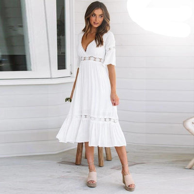 White Dress Hippie Chic Style hippie