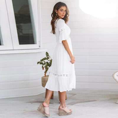 White Dress Hippie Chic Style beautiful