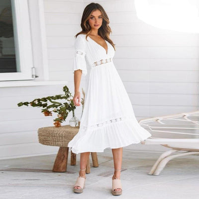 White Dress Hippie Chic Style cute