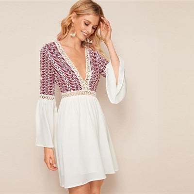 Short White Boho Dress cute