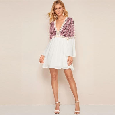Short White Boho Dress hippie