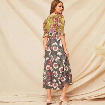 Long Flowered Boho Dress finely tailored