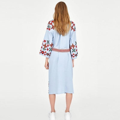 Boho Dress Mid Long Winter cute