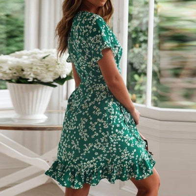 Chic Boho Dress In Water Green cheap