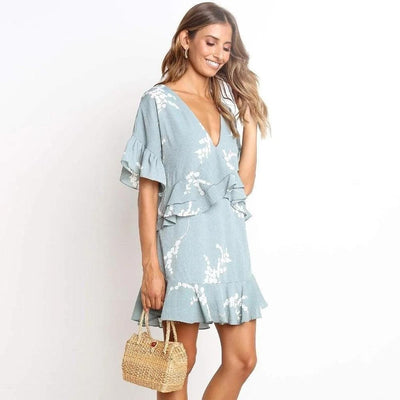 Boho Short Dress Blue trendy