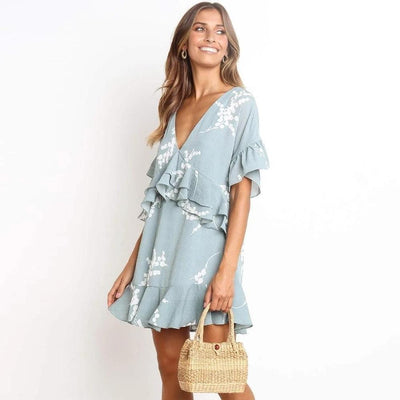 Boho Short Dress Blue women
