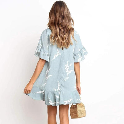 Boho Short Dress Blue hippie