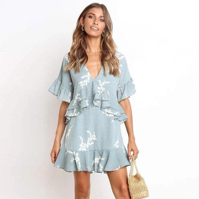 Boho Short Dress Blue high quality