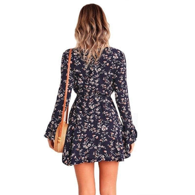 Boho Short Dress With Long Sleeves low price