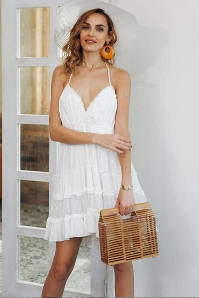 White Boho Lace Boho Chic Beach Dress cute