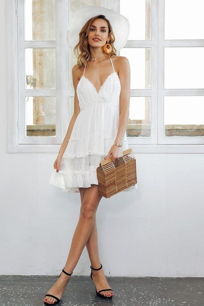 White Boho Lace Boho Chic Beach Dress