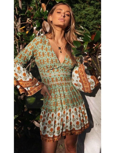 Green Hippy Dress cheap