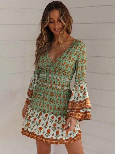 Green Hippy Dress 2020