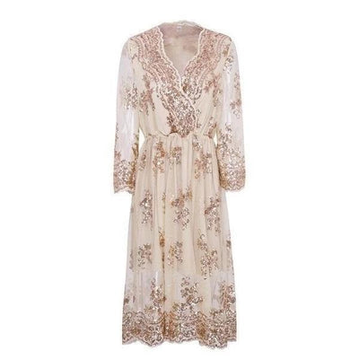 Beige Chic Boho Long Dress chic