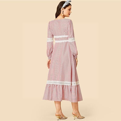 Chic Boho Long Dress In Pale Pink low price