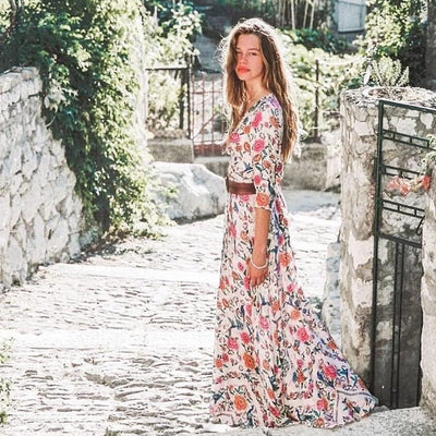 Boho Chic Powder Pink Long Dress bohemian life
